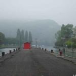 Nebel über dem Hafen Hörnle in Grenzach